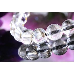 【送料無料】《珠径7mm 内径15cm 》プラチナルチルクォーツ 微細針 白金水晶 パワーストーン天然石ブレスレット code3132|karen-ya