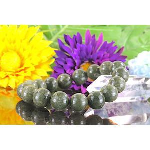 【送料無料】《 珠径11mm 内径16cm》モスグリーン ガーデンクォーツ 庭園水晶 ブレスレット パワーストーン 天然石 code4041|karen-ya