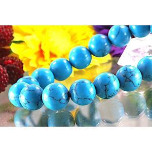 【送料無料】《珠径12mm 内径16cm》 ブルー スタビライズド ターコイズ パワーストーン天然石ブレスレット code6527|karen-ya