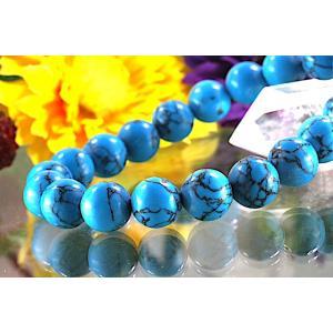 【送料無料】《珠径10mm 内径16.5cm》 ブルー スタビライズド ターコイズ パワーストーン天然石ブレスレット code6531|karen-ya