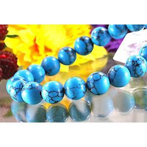 【送料無料】《珠径10mm 内径16.5cm》 ブルー スタビライズド ターコイズ パワーストーン天然石ブレスレット code6532|karen-ya