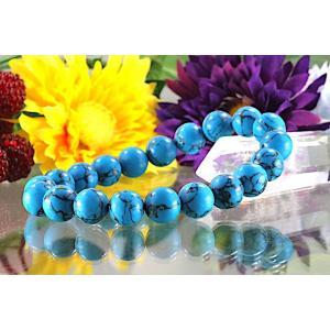 【送料無料】《珠径10mm 内径16.5cm》 ブルー スタビライズド ターコイズ パワーストーン天然石ブレスレット code6533|karen-ya