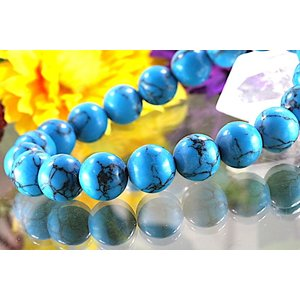 【送料無料】《珠径10mm 内径16.5cm》 ブルー スタビライズド ターコイズ パワーストーン天然石ブレスレット code6534|karen-ya