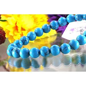 【送料無料】《珠径8mm 内径16.5cm》 ブルー スタビライズド ターコイズ パワーストーン天然石ブレスレット code6550|karen-ya
