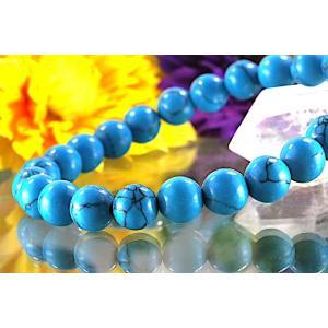 【送料無料】《珠径8mm 内径16.5cm》 ブルー スタビライズド ターコイズ パワーストーン天然石ブレスレット code6551|karen-ya