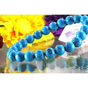 【送料無料】《珠径8mm 内径15.5cm》 ブルー スタビライズド ターコイズ パワーストーン天然石ブレスレット code6552|karen-ya