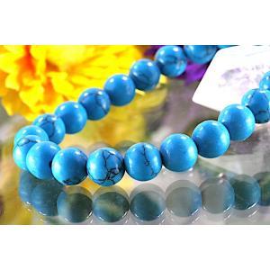 【送料無料】《珠径8mm 内径16cm》 ブルー スタビライズド ターコイズ パワーストーン天然石ブレスレット code6553|karen-ya