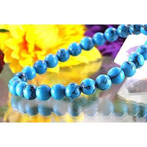 【送料無料】《珠径6mm 内径15cm》 ブルー スタビライズド ターコイズ パワーストーン天然石ブレスレット code6554|karen-ya