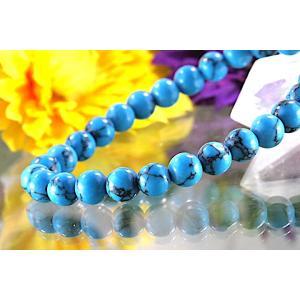 【送料無料】《珠径6mm 内径15cm》 ブルー スタビライズド ターコイズ パワーストーン天然石ブレスレット code6555|karen-ya