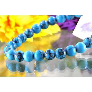 【送料無料】《珠径6mm 内径15cm》 ブルー スタビライズド ターコイズ パワーストーン天然石ブレスレット code6556|karen-ya