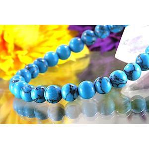 【送料無料】《珠径6mm 内径15cm》 ブルー スタビライズド ターコイズ パワーストーン天然石ブレスレット code6557|karen-ya