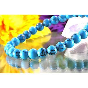 【送料無料】《珠径6mm 内径15cm》 ブルー スタビライズド ターコイズ パワーストーン天然石ブレスレット code6558|karen-ya