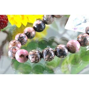 【送料無料】《珠径10mm 内径16cm 》テンドリック ロードナイト パワーストーン天然石ブレスレット code8742|karen-ya