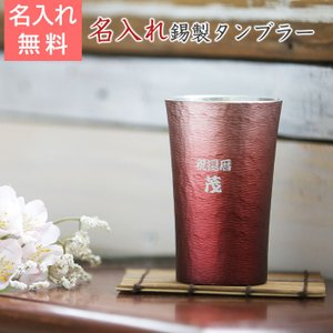 タンブラー カップ 名入れ 送料無料 プレゼント ギフト 錫(すず)製 名入れタンブラー 赤|karin-e