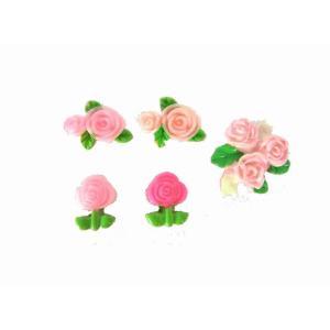 プラパーツフラワー 薔薇 ローズ  約21〜10mm  6個セット|karin-style