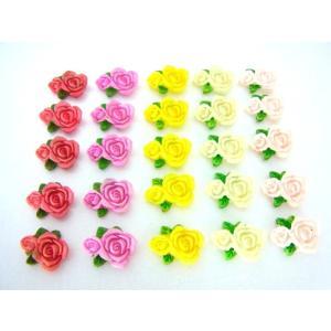 デコパーツ ローズ 薔薇 5個セット 約16×12×5mm|karin-style