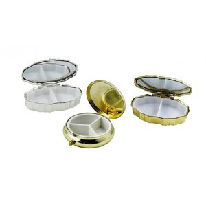 B級品3種類3個セット ピルケース 丸型・楕円 仕切り付 ゴールド&シルバー|karin-style