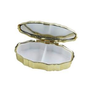 B級品 鏡付き携帯ピルケース 楕円 ゴールド 3個セット|karin-style