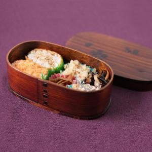 お弁当箱 曲げわっぱ 桜柄 小判 1段 茶 600cc 漆 レディース 送料無料|karinhonpo2951