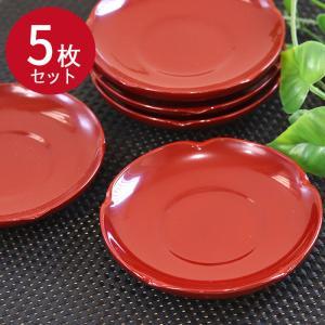 木製茶托 5枚セット 朱塗 和皿 コースター おしゃれ 運動会|karinhonpo2951