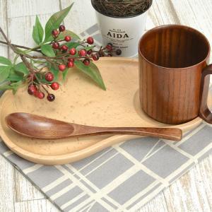 カップ置きがある木のプレートで朝ごはんもおしゃれに!  おやつタイムにもピッタリ ナチュラルな木の皿...