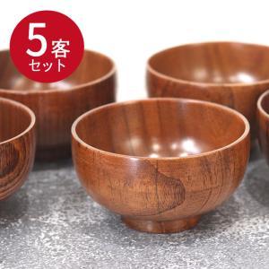 木のお椀 木製布袋汁椀 5客セット|karinhonpo2951