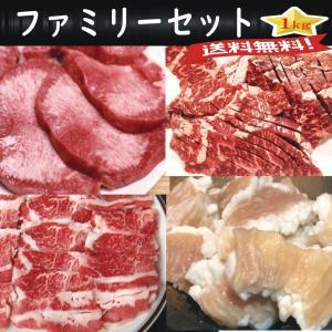 焼肉 BBQ (ファミリーセット) 1kgセット 牛タン250g 牛カルビ250g 華咲き上選ハラミ...