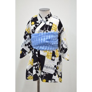オーシャン&グランド GIRL'S 浴衣ワンピース BLOCK PATTERN ブラック 90-130cm ocean&ground|kasaman