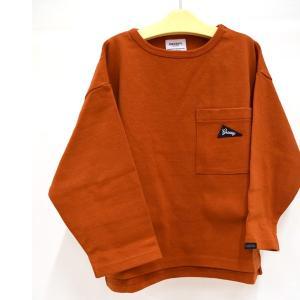 グルーヴィ―カラーズ 天竺 POCKET ワイド L/S TEE オレンジ 100-140cm GROOVY COLORS|kasaman