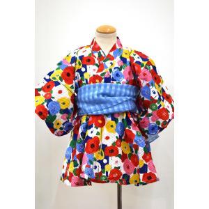 オーシャン&グランド ocean&ground GIRL'S 浴衣ワンピース FLOWER POP レッド 90cm〜130cm|kasaman