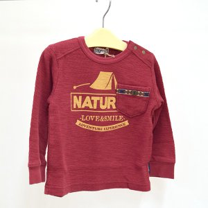 ラグマート NATURAL長そでTシャツ レッド 100-130cm RAG MART|kasaman