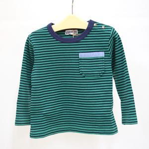 ラグマート 細ボーダー長そでTシャツ 100-130cm グリーン RAG MART|kasaman