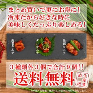 【まとめ買いがお得!】 伊勢志摩 海鮮キムチ 食べ比べ3種×3個 合計9セット 海老キムチ 牡蠣キムチ タコキムチ ※冷凍便指定(混載不可)|kashiko