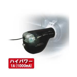 リール式DC充電器グリーンLEDブラック 1A【microUSB】(AJ-357) kashimura