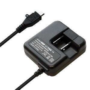 海外でも使える!AC充電器1A ブラック【microUSB】(AJ-442) kashimura