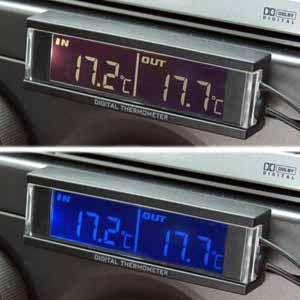 ホワイト&ブルーの文字発光☆車内外温度計(AK-109)|kashimura