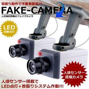 防犯カメラ ダミー 動体感知 首振り LED点滅 KZ-CA023 予約|kasimaw