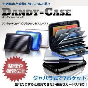 カード 整理や保管 に使える ダンディケース ジャバラ式で7ポケット ワンタッチロック式 名刺整理  免許証 保険証 アルミ KZ-DANDY-C 即納|kasimaw