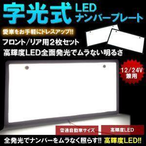 車用 LED ナンバープレート 2枚セット 字光式 高輝度 12V 24V 自動車 フロント リア 人気 おすすめ カー用品 車中泊 KZ-ALNF2 即納|kasimaw