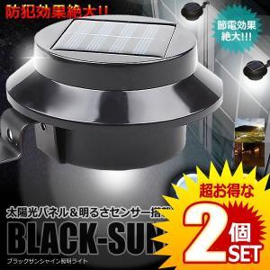 ガーデン 照明 ライト 2個セット太陽光パネル LED搭載 ブラックサンシャイン 明るさセンサー 夜間自動点灯 防犯 BLASAN|kasimaw