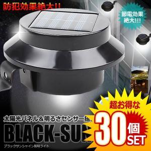 ガーデン 照明 ライト 30個セット太陽光パネル LED搭載 ブラックサンシャイン 明るさセンサー 夜間自動点灯 防犯 BLASAN|kasimaw