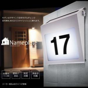 光る ネームプレート LED ライト 表札 ソーラー 太陽光パネル 照明 玄関 エクステリア 庭 KZ-NAMEPL 予約|kasimaw