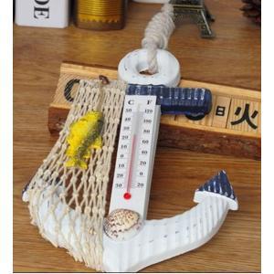デザイン 温度計 イカリ 型 おしゃれ 雑貨 インテリア かわいい モダン デザイン 海 の 家 CAFE マリン ウッド デッキ KZ-C23-ONDO 即納|kasimaw