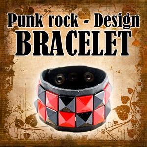 赤黒ブロックチェック パンクロック 腕輪 ブレスレット お洒落 ユニセックス メンズ レディース KZ-UDW-37400-RDBK 予約|kasimaw