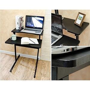 スリム デザイン マルチ テーブル 2段 ブラック ベッド サイド KZ-PCTABLE2  予約|kasimaw