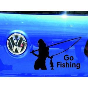 車用ステッカー ジョーク 釣りに行こう 黒|kasimaw