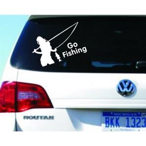 車用ステッカー ジョーク 釣りに行こう 白 悪魔エンブレム 天使 デビルちゃん|kasimaw