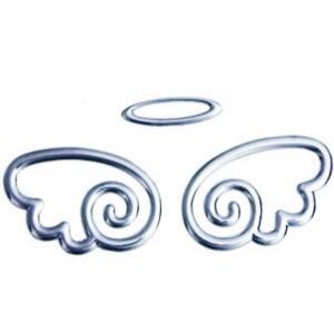 車用金属ステッカー 天使の羽根とリング  悪魔エンブレム 天使 デビルちゃん KZ-MSTICKER-69A  即納|kasimaw