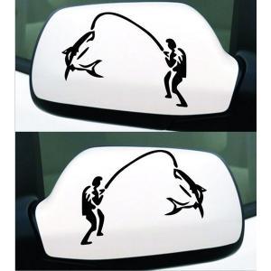 車用ステッカー ジョーク サメ釣れた 黒|kasimaw