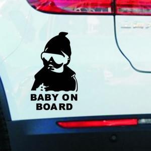 車用ステッカー ジョーク 赤ちゃんがノってます 黒|kasimaw